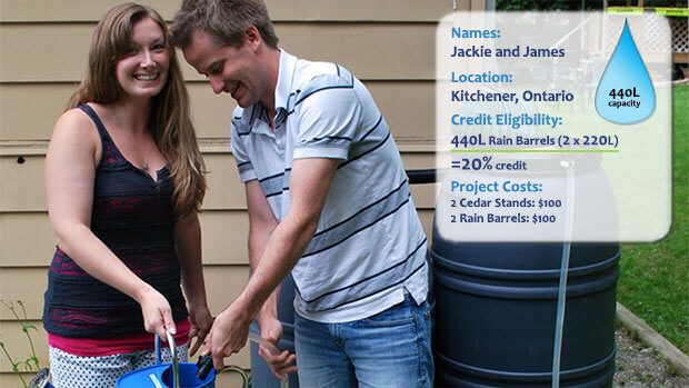 Names: Jackie and James; Location: Kitchener, Ontario; Credit Eligibility: 440L Rain Barrels (2 x 220L) = 440L = 20% credit