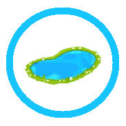 Icon of a pond in a circle