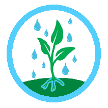 Icon of a plant growing with rain falling on it, within a blue circle