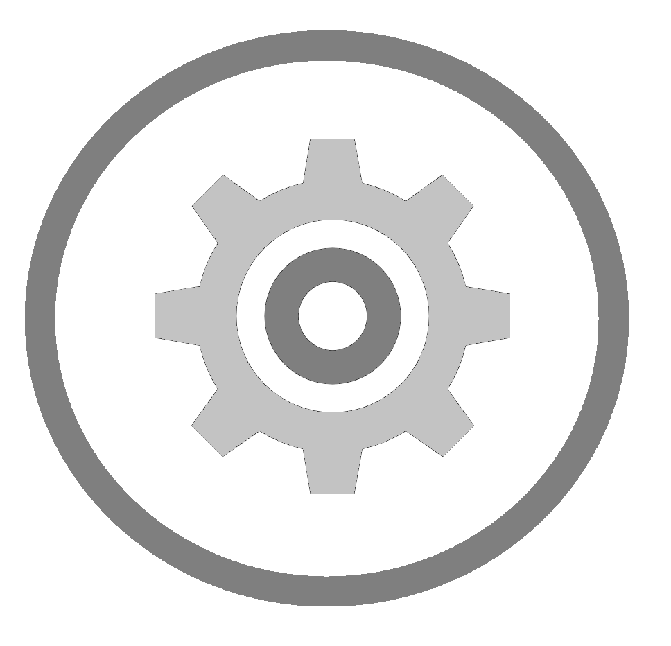 Icon of a gear within a grey circle