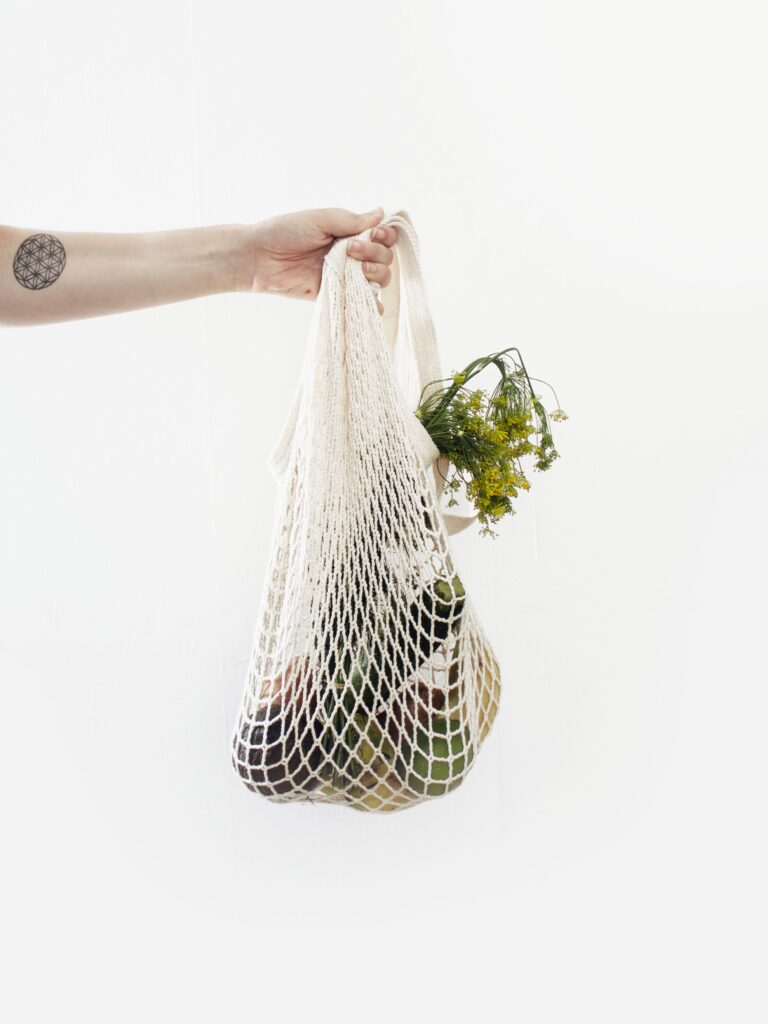 zero waste shopping produce bag grocery fruits vegetables