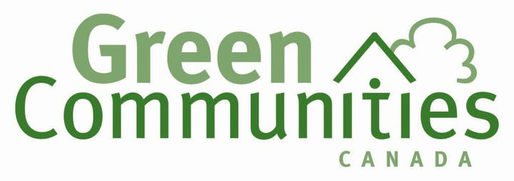 Logo shows text Green Communities Canada and a stylized house and tree