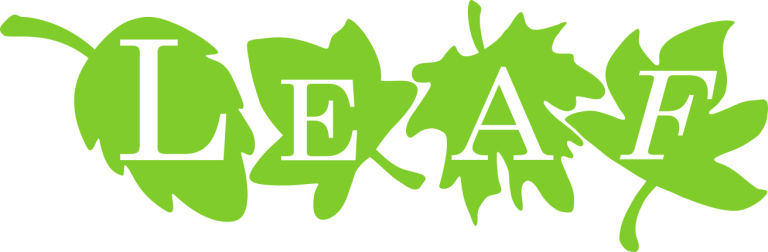 Logo shows stylized leaves and the text LEAF