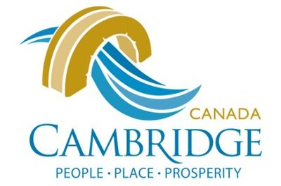 Stylized water running under bridge. Text reads Canada, Cambridge: People, Place, Prosperity
