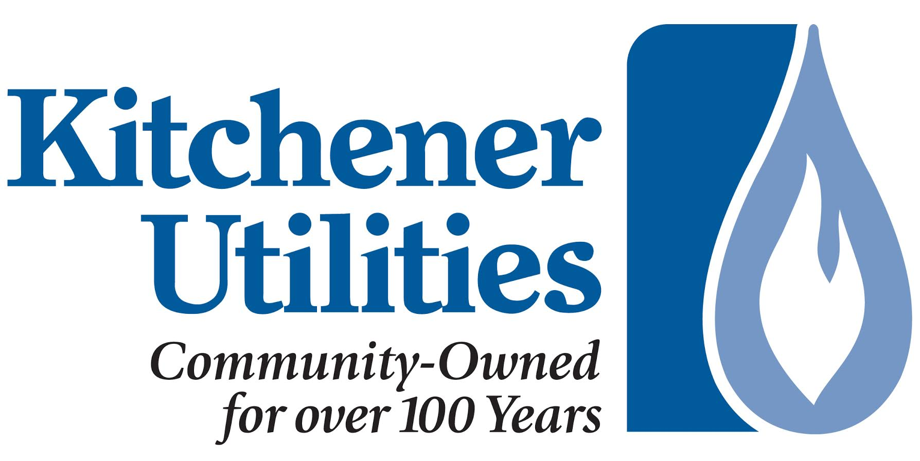 Logo has a stylized flame and the text Kitchener Utilities Community-Owned for over 100 years