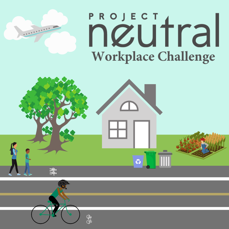 Project Neutral workplace challnge. Graphic illustration of a house, trees, a road and someone biking/walking.