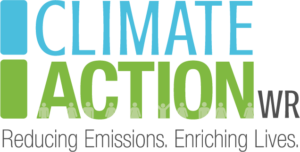 Logo contains the text ClimateActionWR Reducing Emissions. Enriching Lives.