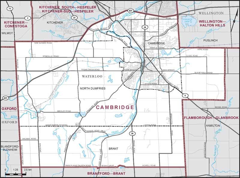 Map of Cambridge federal riding