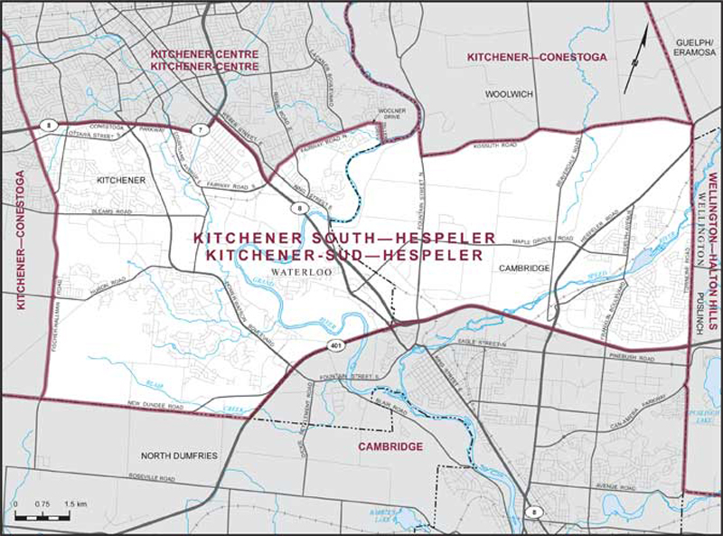 Map of Kitchener South-Hespeler federal riding