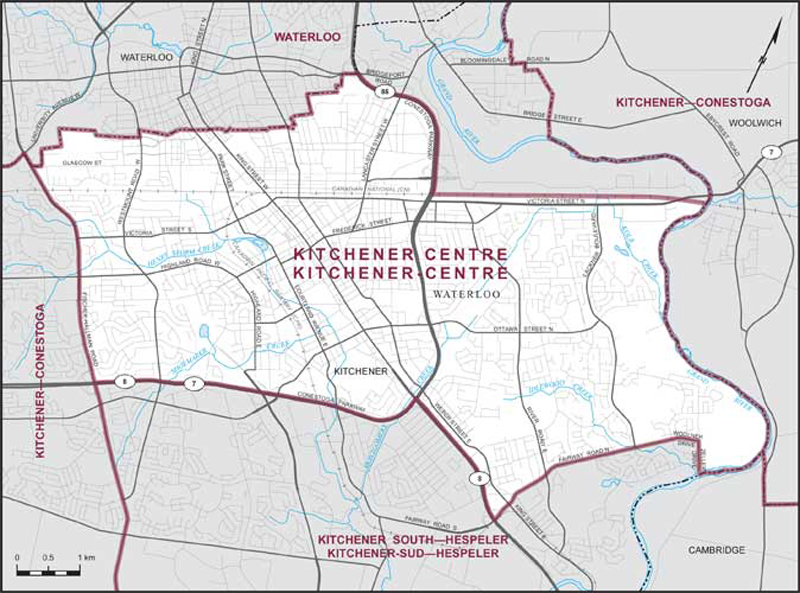 Map of Kitchener Centre federal riding