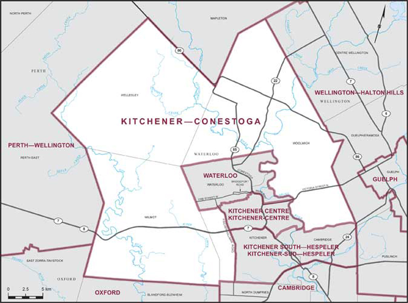 Map of Kitchener-Conestoga federal riding