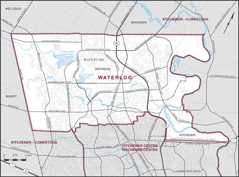 Map of Waterloo federal riding