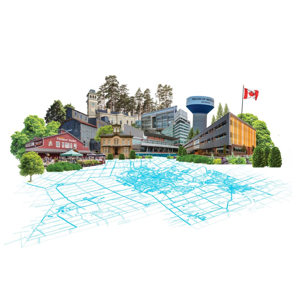 A stylized cityscape of Waterloo Region with a map in the foreground.